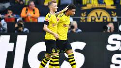 Jadon Sancho (r.) traf gegen Augsburg zum 2:1 für seinen BVB