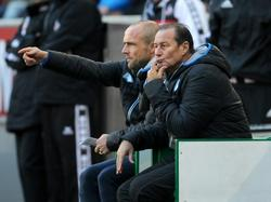 Het trainersduo Alfred Schreuder (l.) en Huub Stevens bekijkt de wedstrijd van hun 1899 Hoffenheim tegen 1. FC Köln. Stevens is hoofdcoach, Schreuder assistent. (31-10-2015)