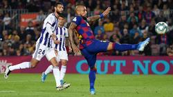 Vidal dispara en un encuentro ante el Valladolid.