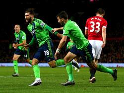 Ein Auswärtssieg im Old Trafford? Charlie Austin macht's möglich! Southampton feiert den Treffer des Jokers zum 1:0 bei Manchester United in der 87. Minute. (23.1.2016)