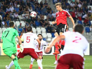Janko marcó de cabeza el segundo gol de Austria en Georgia. (Foto: Getty)