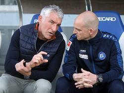 Marc-Patrick Meister (r.) übernimmt ab sofort den Job von Mirko Slomka als KSC-Coach