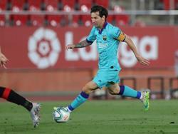 Messi en el último duelo liguero frente al RCD Mallorca.