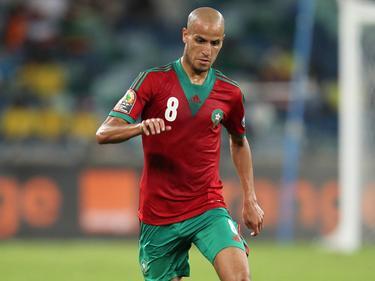 Karim El Ahmadi in actie voor zijn land op de Afrika Cup. Marokko komt in de groepsfase uit tegen Kaapverdië. (23-01-2013)