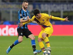 Aleñá fue partícipe de la victoria del Barça en el campo del Inter.