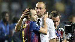Andrés Iniesta und Pep Guardiola gewannen mit dem FC Barcelona das Triple