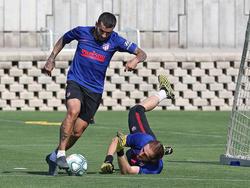 Ángel Correa en un entrenamiento del fin de semana.
