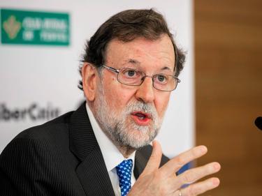 Rajoy hoy durante la presentación de su libro.