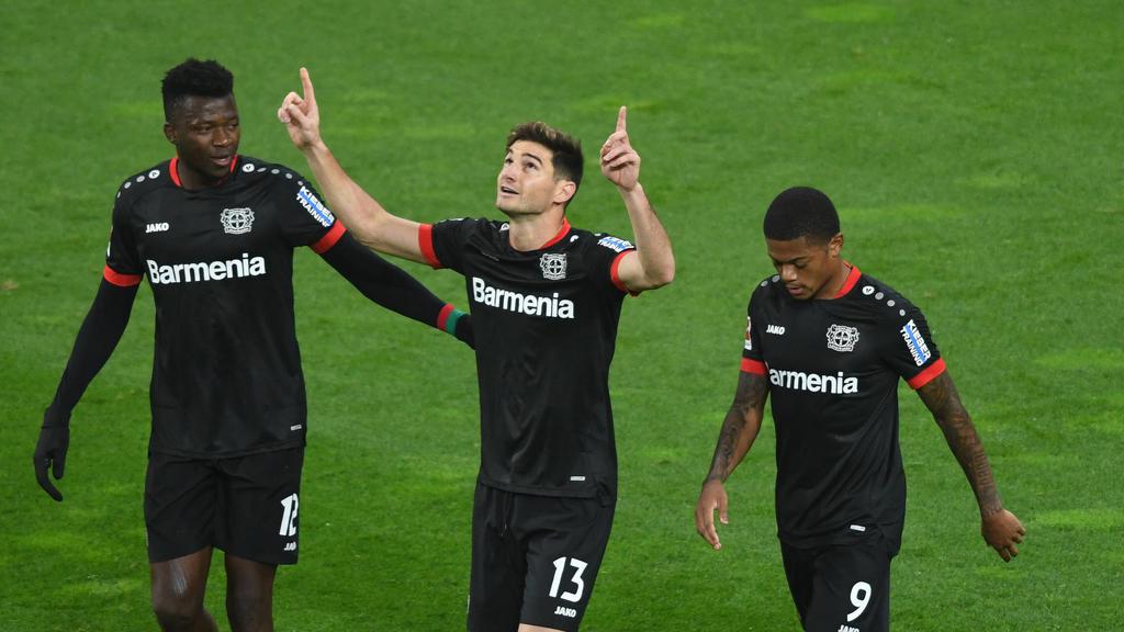 Erzielte zwei Treffer für Bayer Leverkusen: Lucas Alario (M.)
