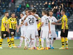 Der FC Vaduz jubelt über den Sieg in Bern