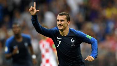 Antoine Griezmann jubelt über den Sieg gegen Kroatien