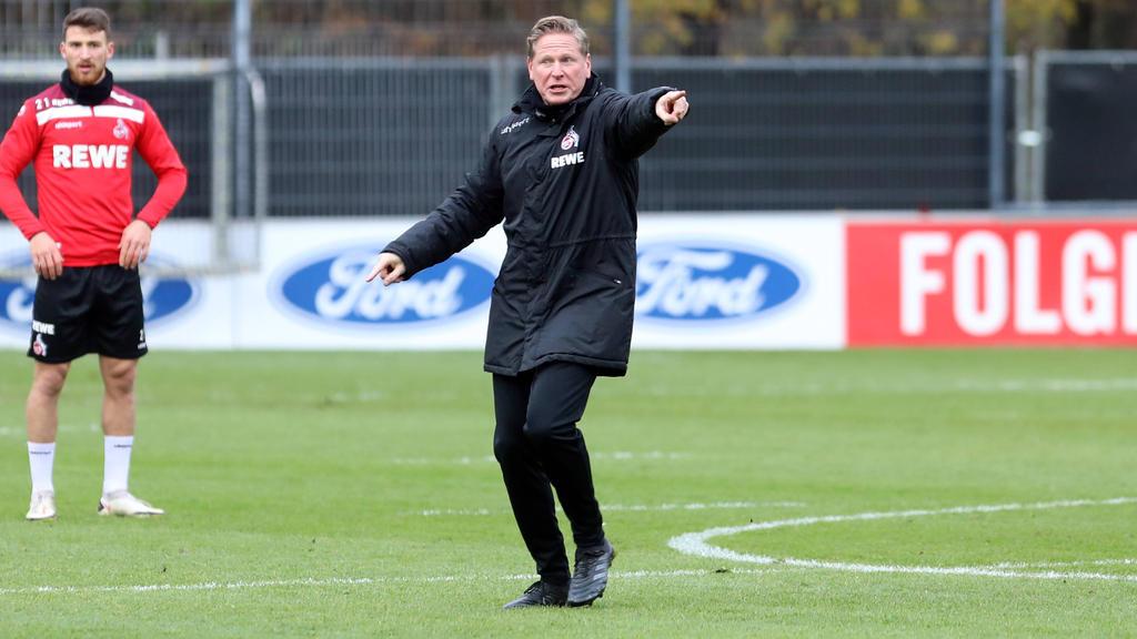 Markus Gisdol zeigt sich energisch im Kölner Mannschaftstraining