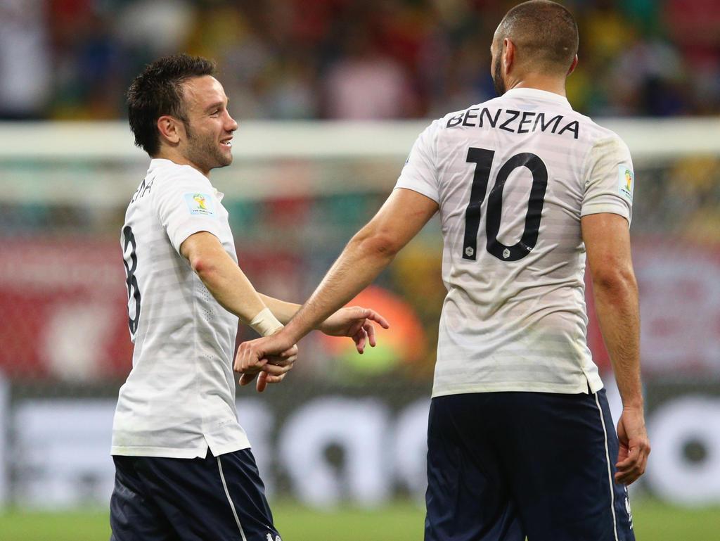 Kein Kontaktverbot mehr: Valbuena (l.) und Benzema (r.)