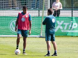 Luiz Gustavo (l.) im Gespräch mit VfL-Trainer Dieter Hecking