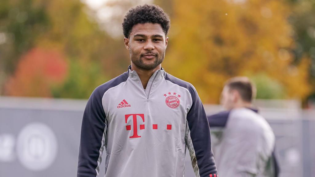 Serge Gnabry beim Training des FC Bayern am Dienstag