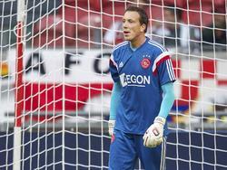 Diederik Boer tijdens zijn eerste warming-up in het shirt van Ajax. (13-09-2014)