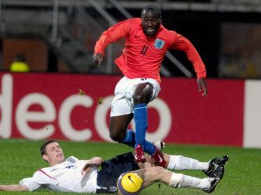 Quincy Owusu-Abeyie was op het wereldkampioenschap in 2005 niet te stuiten. De linksbuiten dribbelden langs diverse opponenten en was daarmee één van de uitblinkers op het toernooi. (24-06-2005)