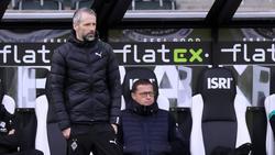 Marco Rose (vorn) hat bei Gladbach eine Jobgarantie bis Saisonende