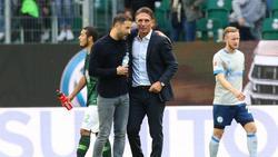 Domenico Tedesco (l.) und Bruno Labbadia sind angeblich Kandidaten auf den Trainerposten beim FC Schalke 04