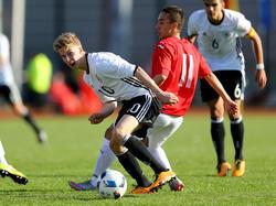 Die deutsche U 17 um Sam Francis Schreck kam gegen Bulgarien nicht über ein 1:1 hinaus