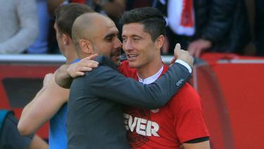 Robert Lewandowski und Pep Guardiola 2016 beim FC Bayern