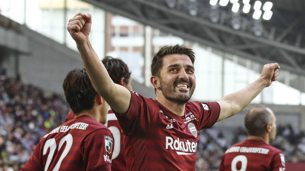 Villa celebra un tanto con el Vissel Kobe.