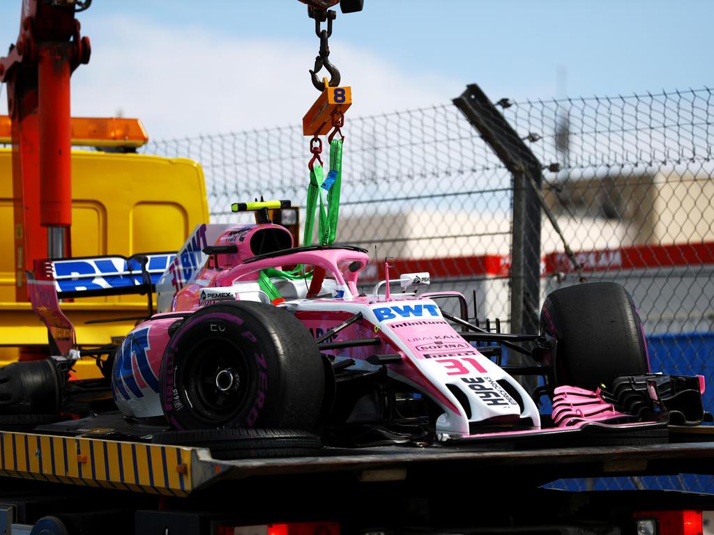 Der gestrandete Ocon, der zuvor bereits mit Grosjean crashte