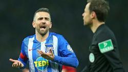 Ibisevic (l.) hadert mit der Schiedsrichter-Entscheidung