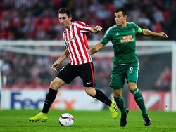 Aymeric Laporte (l.) könnte bald für Manchester City auflaufen