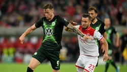 Wout Weghorst (l.) erzielte den einzigen Treffer für seine Wolfsburger