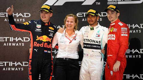 In Abu Dhabi standen Hamilton, Verstappen und Leclerc gemeinsam auf dem Podest