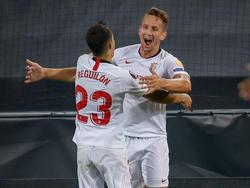 Der Sevilla feiert den Einzug ins Finale der Europa League