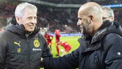 Ex-BVB-Coach Lucien Favre (l.) könnte Peter Bosz bei Bayer Leverkusen beerben
