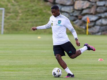 David Alaba en un entrenamiento con la selección austriaca.