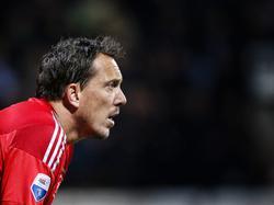 Diederik Boer staat tijdens het competitieduel Heracles Almelo - Ajax onder de lat bij de Amsterdammers. (17-10-2015)