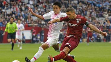 Lukas Podolski zeigte bei Vissel Kobe einen starken Auftritt