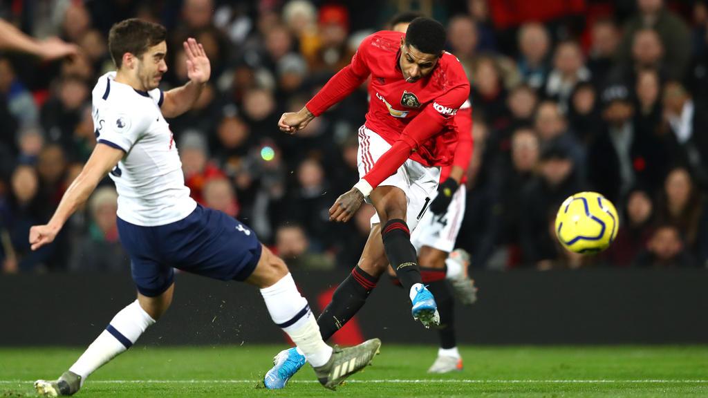 Marcus Rashford (r.) erzielte zwei Tore gegen Tottenham Hotspur