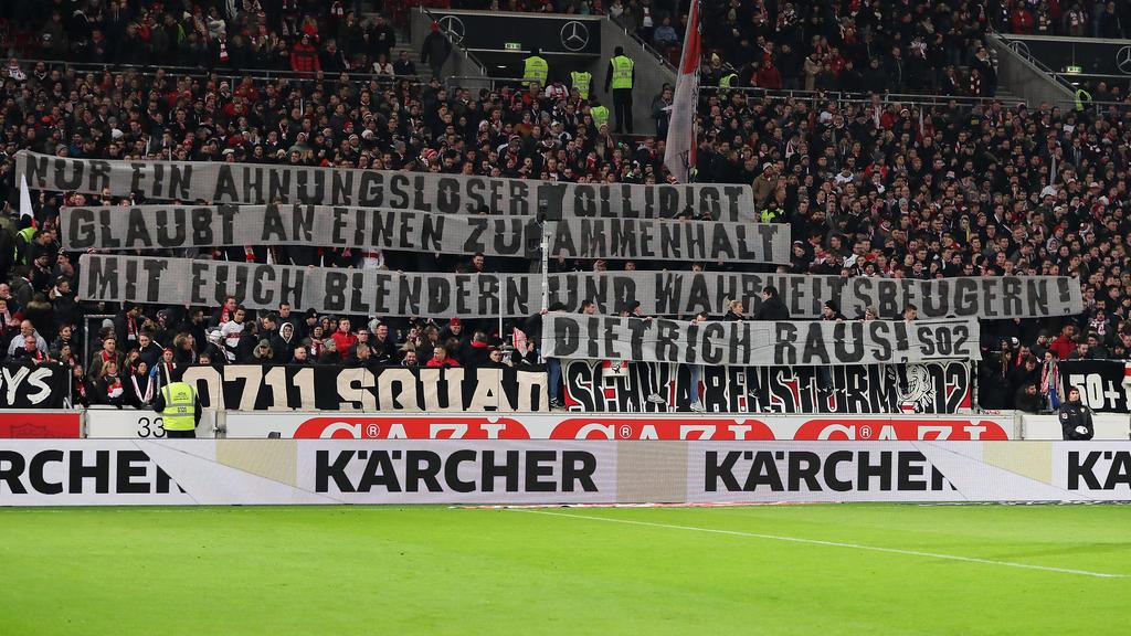Die VfB-Fans mit einem klaren Statement