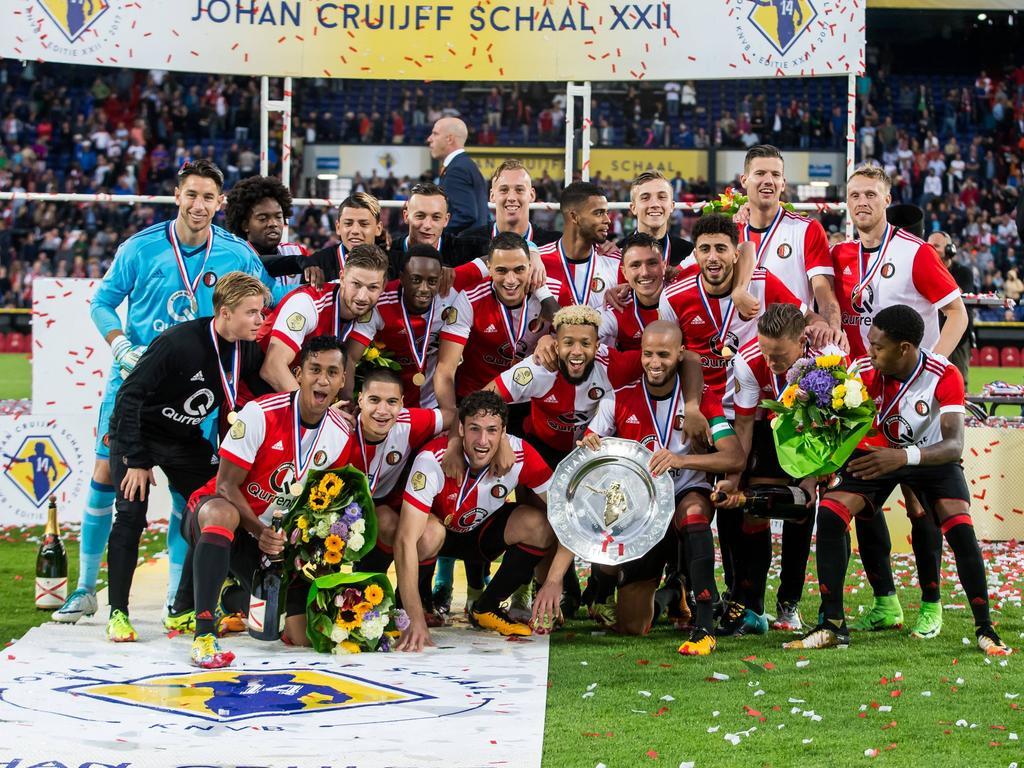 Feyenoord viert het winnen van de Johan Cruijff Schaal (05-08-2017).