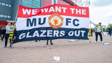 Die Fans von Manchester United machten ihrem Frust Luft
