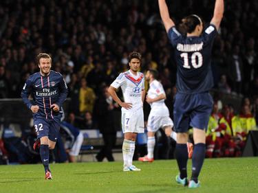 Beckham y Zlatan celebran un tanto en su etapa en el PSG. (Foto: Getty)