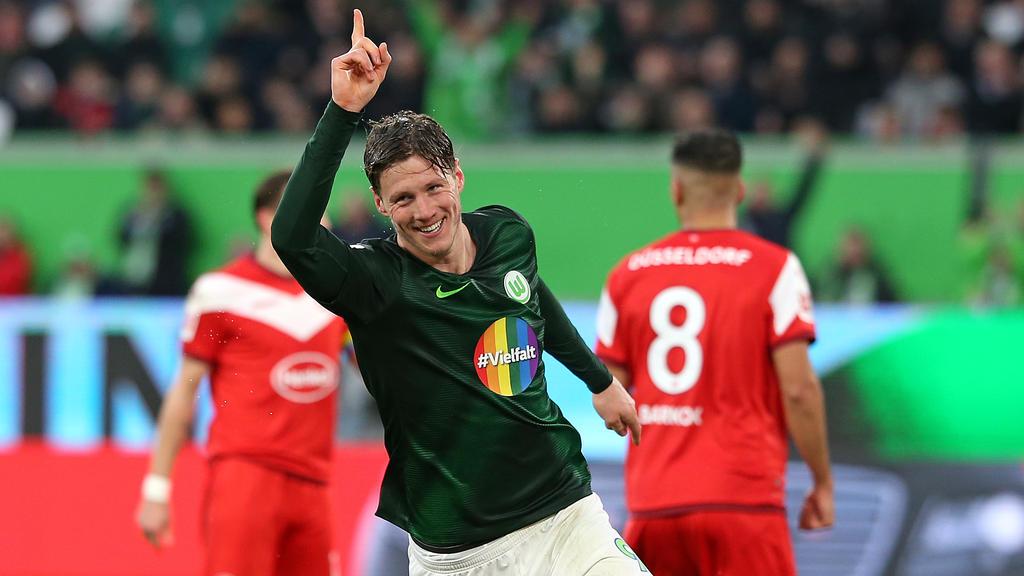 Erzielte drei Tore gegen Fortuna Düsseldorf: Wolfsburgs Stürmer Wout Weghorst