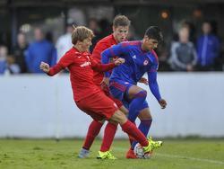 Alan Pulido (drch.) de azul en un FC Twente-Olympiakos. (Foto: Proshots)