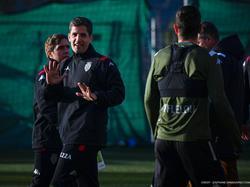 Robert Moreno en su primer entrenamiento.