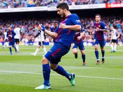 Luis Suárez celebra un tanto con el FC Barcelona. (Foto: Getty)