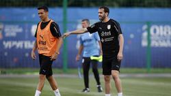 Godín en un entrenamiento con Uruguay.