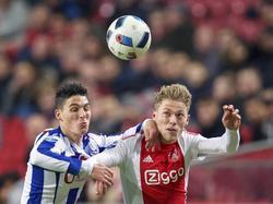 Stefano Marzo (l.) legt zijn arm in de nek van Viktor Fischer, die probeert te koppen tijdens Ajax - sc Heerenveen. (05-12-2015)
