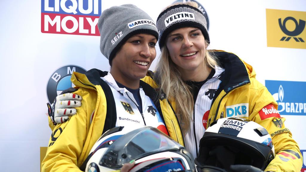 Mariama Jamanka und Annika Drazek gewann das Weltcup-Rennen in Sigulda