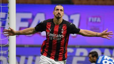 Stürmerstar Zlatan Ibrahimovic ist gerade beim AC Mailand treffsicher