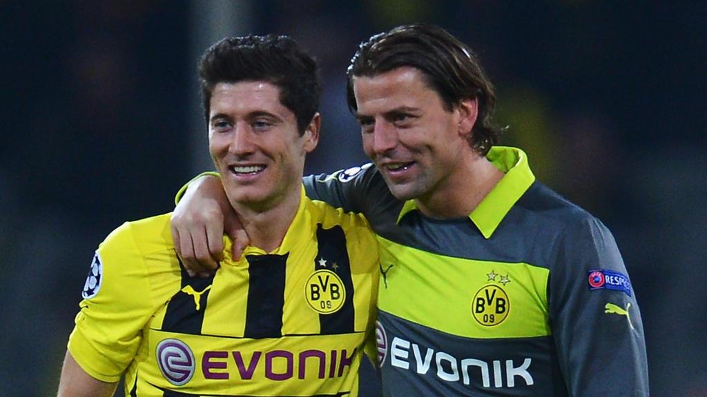 Robert Lewandowski und Roman Weidenfeller spielten zwischen 2010 und 2014 zusammen für Borussia Dortmund